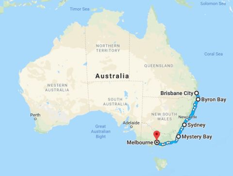melbourne to brisbane map